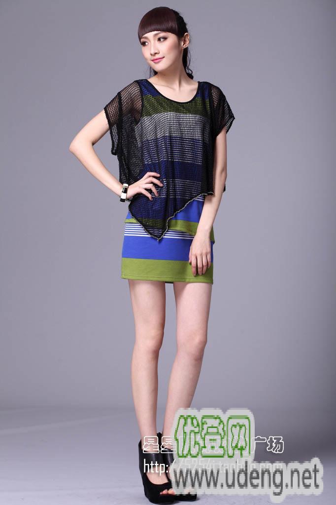 韩版女装,撞色,假两件套,条纹连衣裙