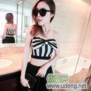 2014夏季韩版女装新款性感2件套条纹蝴蝶结小裹胸套装裙 休闲套装