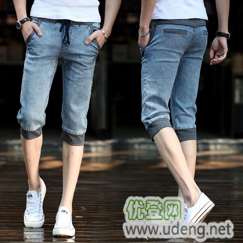 男士牛仔裤 程冠希闪电牛仔 牛仔松紧腰短裤